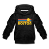Boston, Massachusetts Youth Hoodie - Retro Sunrise Youth Boston Hooded Sweatshirt