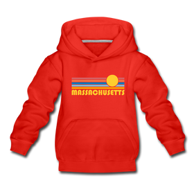 Massachusetts Youth Hoodie - Retro Sunrise Youth Massachusetts Hooded Sweatshirt