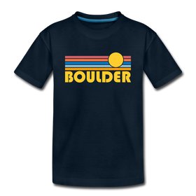 Boulder, Colorado Youth T-Shirt - Retro Sunrise Youth Boulder Tee