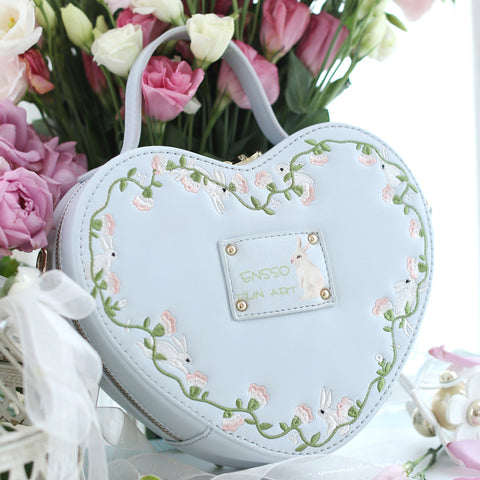 Embroidered Heart-Shaped Handbag