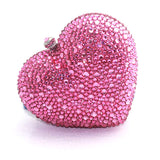 Pink Crystal Heart Bejeweled Clutch