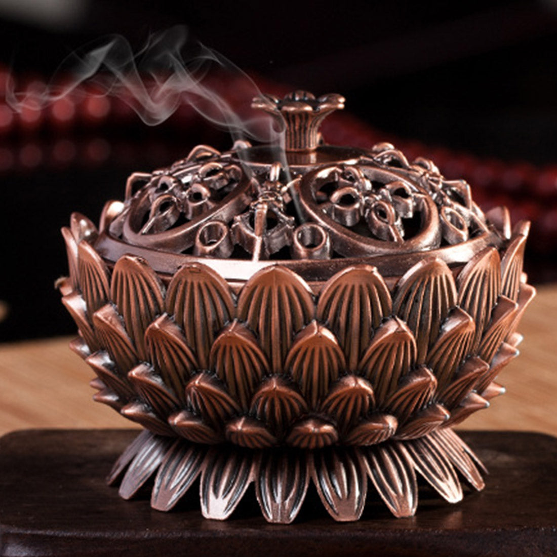 Copper Lotus Incense Burner