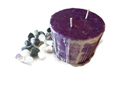 Gemstone Glitter Pillar Candle Manifesting & Meditation 5x4