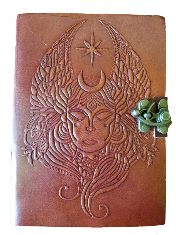 Goddess Embossed Leather Journal w/ cord