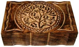 Wood Box: Hand Carved Tree of Life