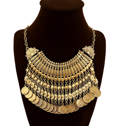 Choker Collar Necklace With Coin Tassels