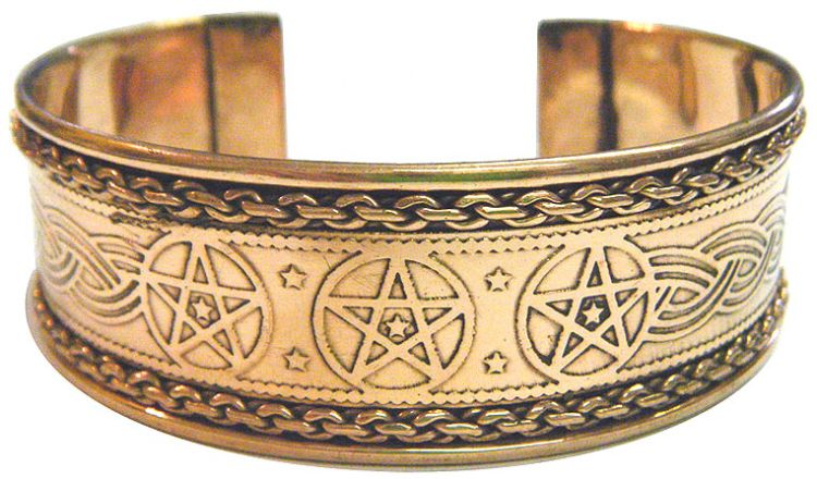 Copper Bracelet: Pentagrams