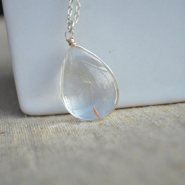STUNNING Dandelion Wish Real Flower Water Drop .925 Sterling Silver Necklace