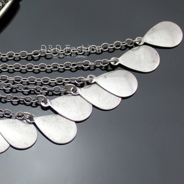 Retro Silver Crescent Obsidian Fringe Chain Coin Banjara Kuchi Gypsy Necklace Jewelry 2017 New