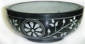 Smudge Pot, Black Floral Soapstone