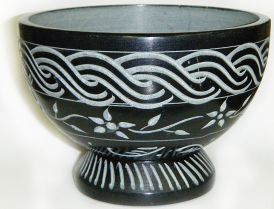 Smudge Pot, Black Celtic & Floral Soapstone