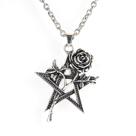 Vintage Rose Flower Pentagram