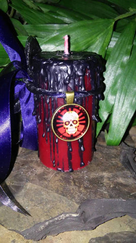 Sugar Skull Samhain Scented Pillar Candle and Necklace Gift set