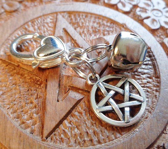 PAGAN CAT CHARM, Collar Charm, Jingle Bell, Cat Jewelry, Cat Charm, Pentacle, Pet Jewelry, Cat Collar, Pet Accesory, Cats, Pets, Wiccan Cat