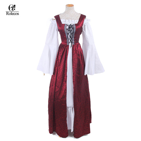 Woman's Renaissance Medieval Gothic Red Long Dress