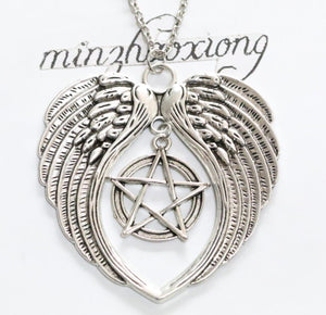 Large Double Feather Wings With Pentagram Pentacle Pendant Chain Necklace - Pagan Wicca Goth 1pcs