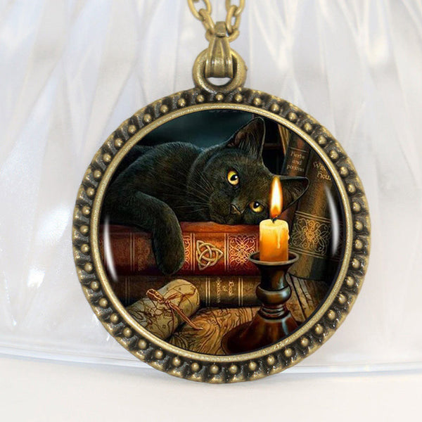 Black Cat Wicca Glass Necklace