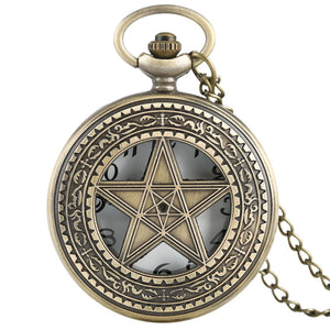 Vintage Necklace Pentagram Pewter Quartz Pocket Watch