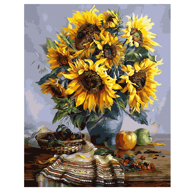 Sunflower Vase Diy Oil Painting By Numbers Shawn Candice Home