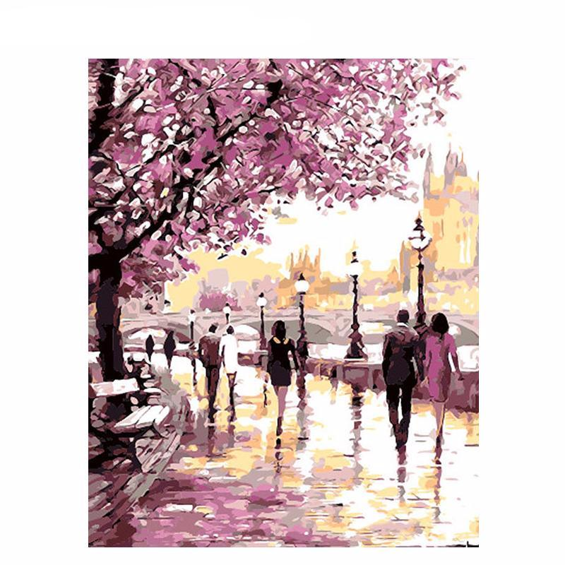 Cherry Blossoms Road Diy Acrylic Painting By Numbers Shawn