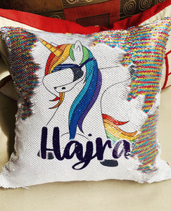 Dabbing Unicorn personalized sequin pillow