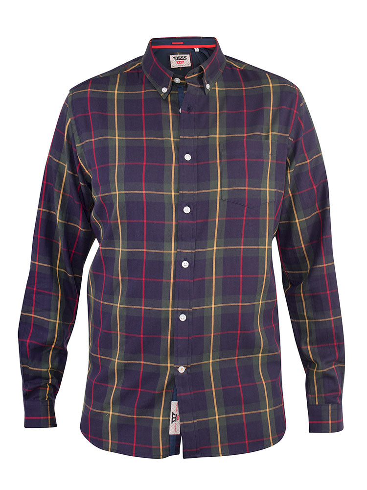 Duke Gladstone Check Shirt - Navy - jjdonnelly