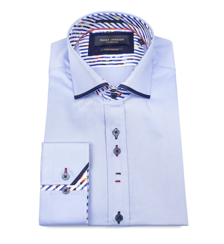 Guide London Slim Fit Shirt - LS74448 Sky