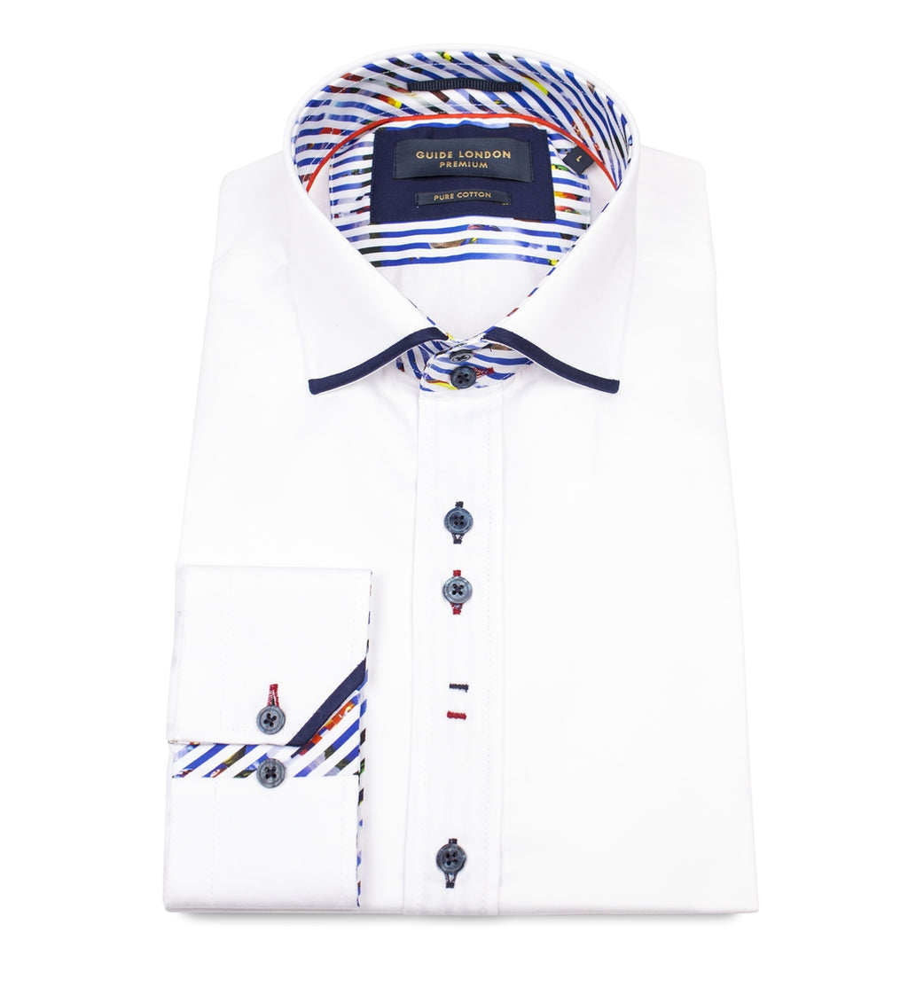 Guide London Slim Fit Shirt - LS74448 White