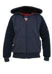 Duke Armstrong Fur Lined Hoodie - Blue - jjdonnelly