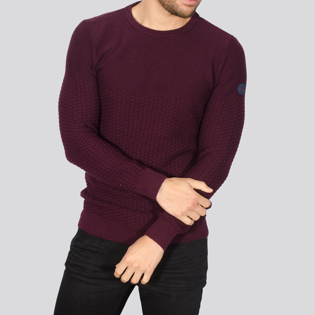 Bewley And Ritch Alpha Crew Neck Knitwear - Burgundy - jjdonnelly
