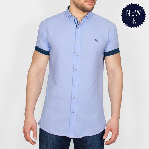 Bewley & Ritch Half Sleeve Galand Shirt - Sky - jjdonnelly