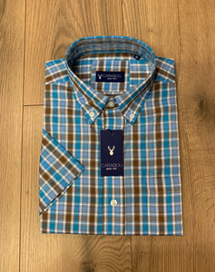 Carabou Half Sleeve Shirt - BL6 Blue/Brown - jjdonnelly