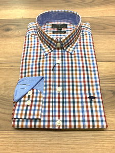 Fynch Hatton Check Shirt Orange - jjdonnelly