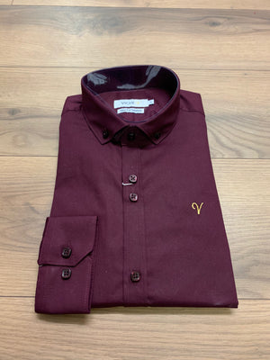 Vichi Slim Fit Stretch Shirt - Burgundy - jjdonnelly