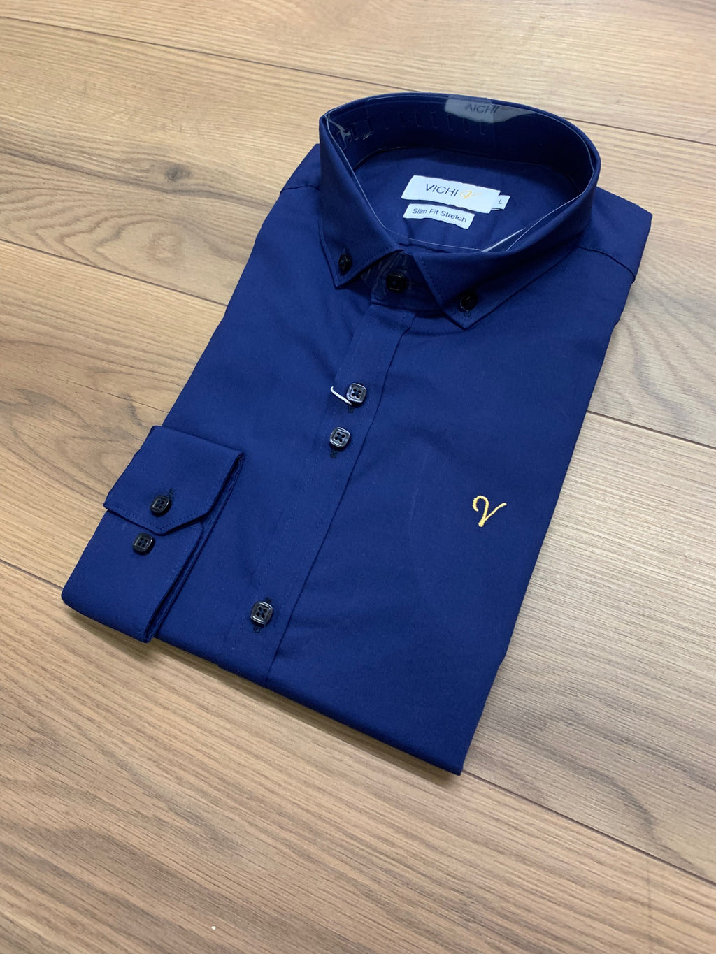 Vichi Slim Fit Stretch Shirt - Navy - jjdonnelly