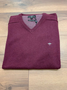 Fynch Hatton V-Neck Jumper - Amaranth( Wine) - jjdonnelly