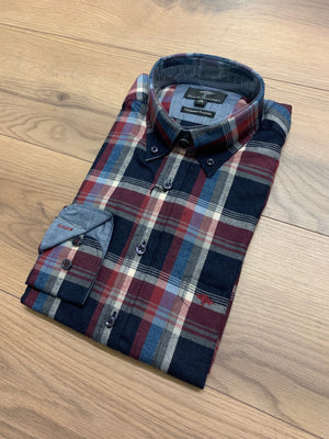 Fynch Hatton Check Flannel Shirt - Navy Oxblood - jjdonnelly