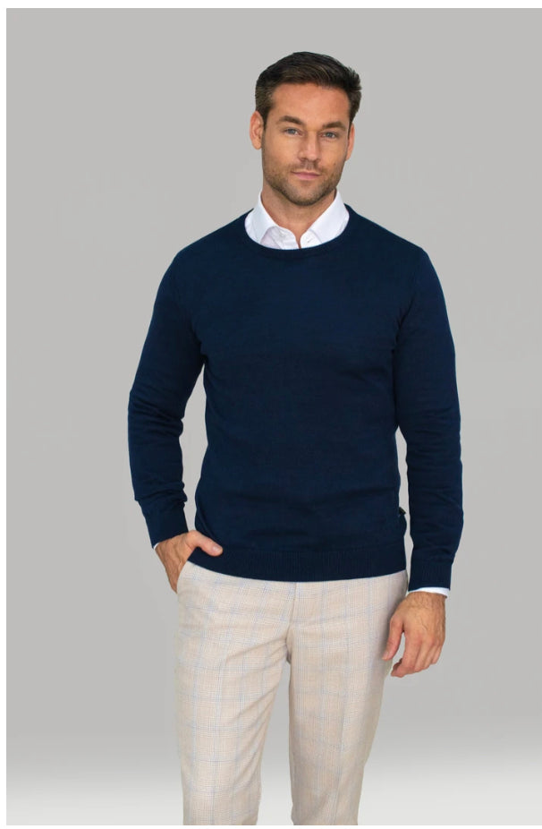 Cavani Slim Fit Crew Neck Knitwear - Navy - jjdonnelly