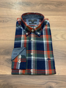 Fynch Hatton Check Flannel Shirt - Navy Fox - jjdonnelly