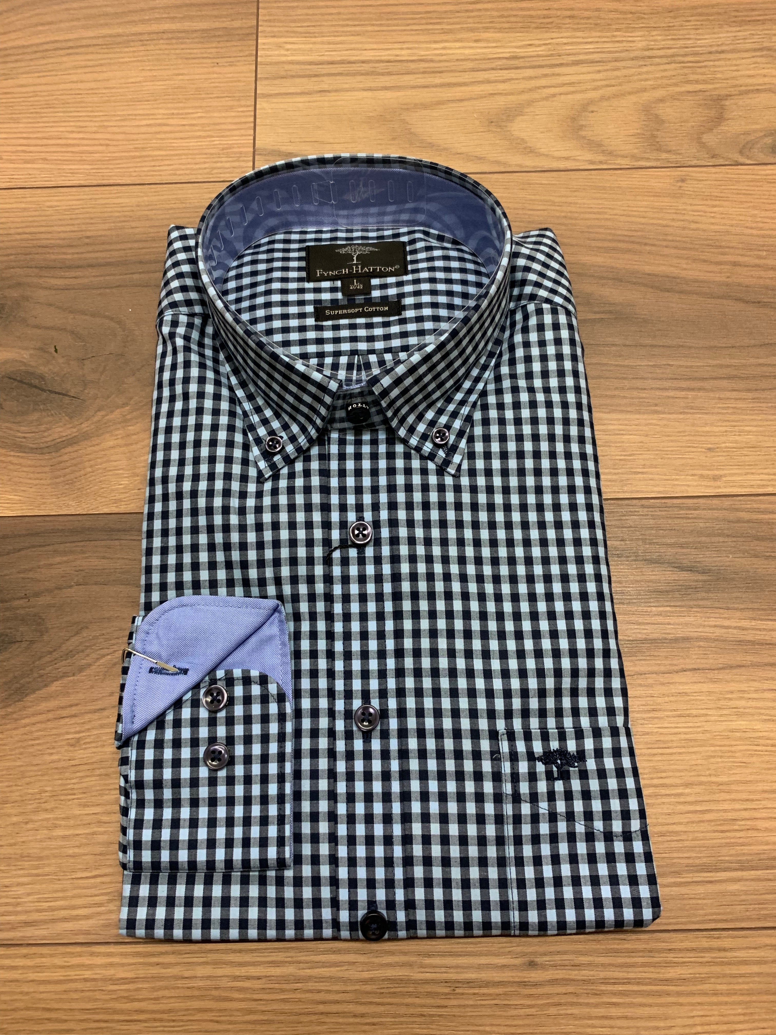 Fynch Hatton Gingham Check Shirt - Blue - jjdonnelly