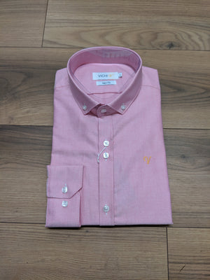 Vichi Oxford Slim Fit Shirt - Red - jjdonnelly
