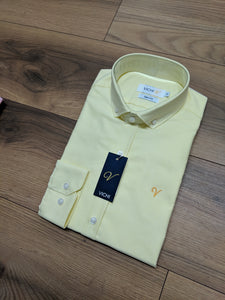 Vichi Oxford Slim Fit Shirt - Corn (Yellow) - jjdonnelly