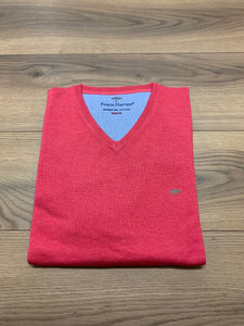 Fynch Hatton V-Neck Jumper - Azalea - jjdonnelly