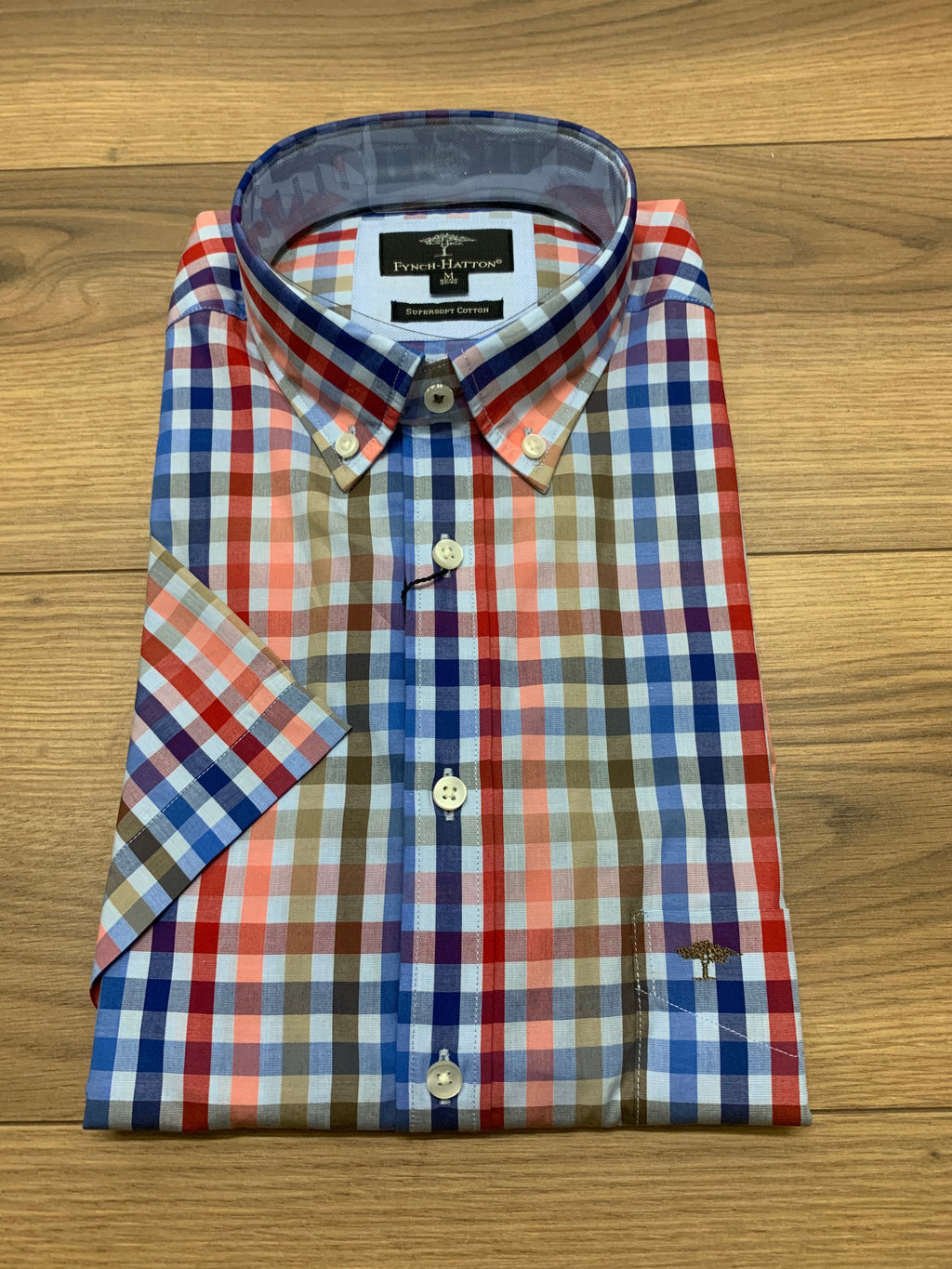Fynch Hatton 1/2 Sleeve Check Shirt - Coral Blue - jjdonnelly