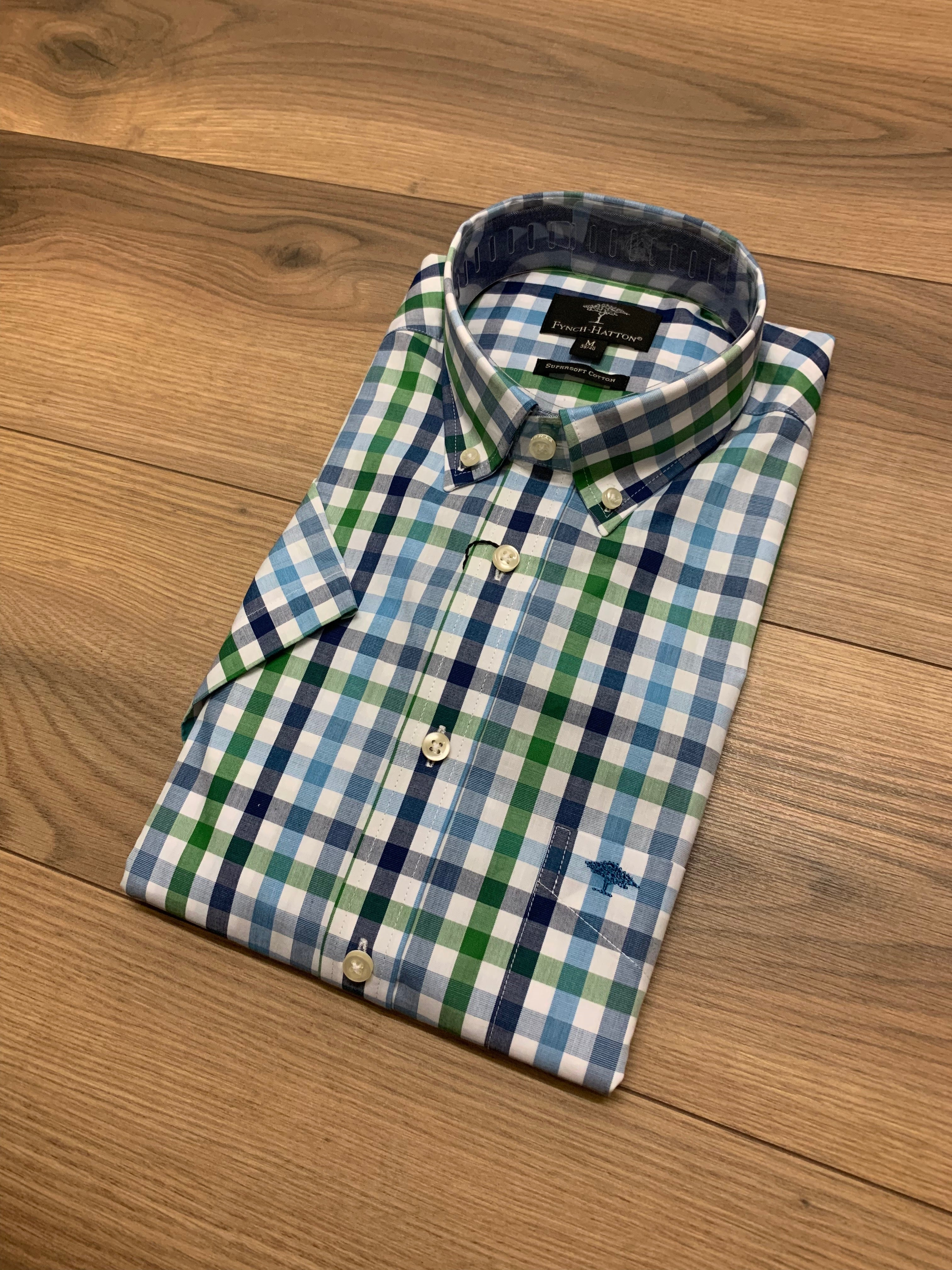 Fynch Hatton 1/2 Sleeve Check Shirt - Pistacchio Blue - jjdonnelly