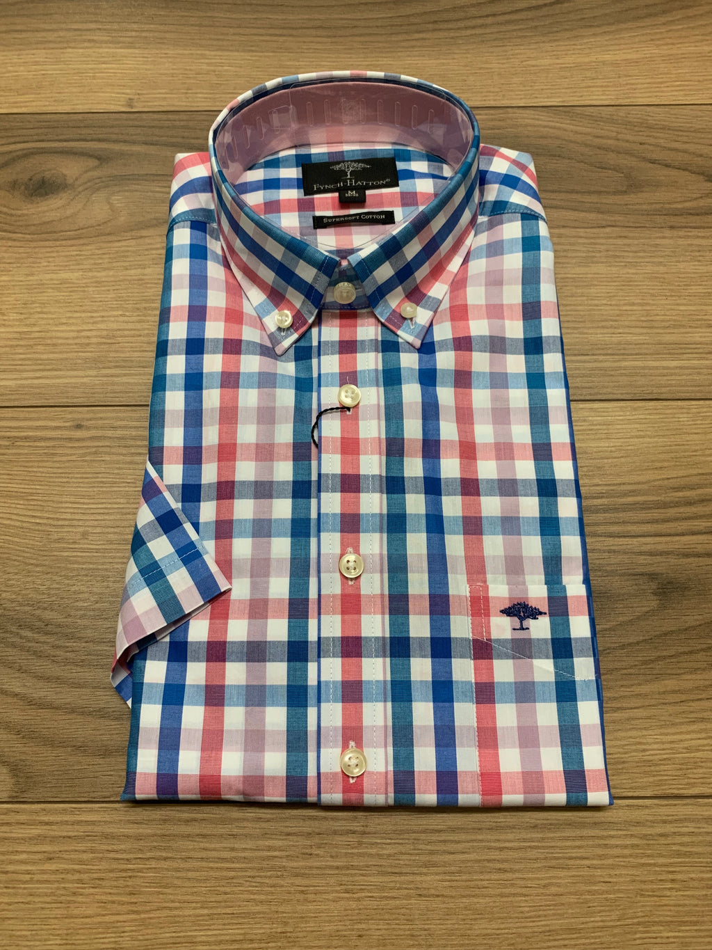 Fynch Hatton 1/2 Sleeve Check Shirt - Magnolia Blue 2 - jjdonnelly