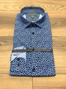 Fynch Hatton Pattern Shirt - Blue Leaf - jjdonnelly