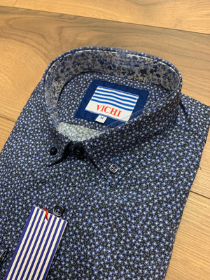 Vichi Tailored Fit Shirt- Navy Floral - jjdonnelly