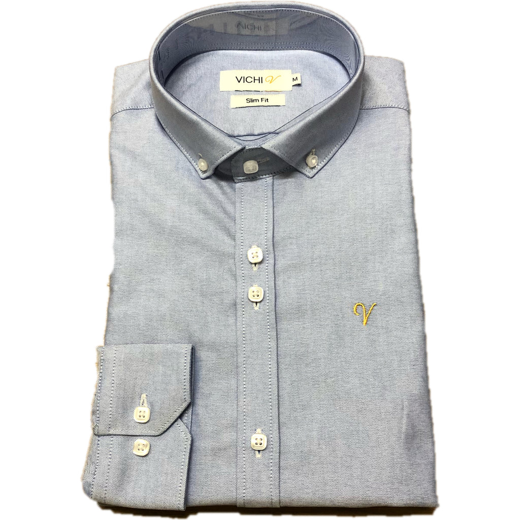 Vichi Slim Fit Oxford Shirt Blue JJ Donnelly Menswear