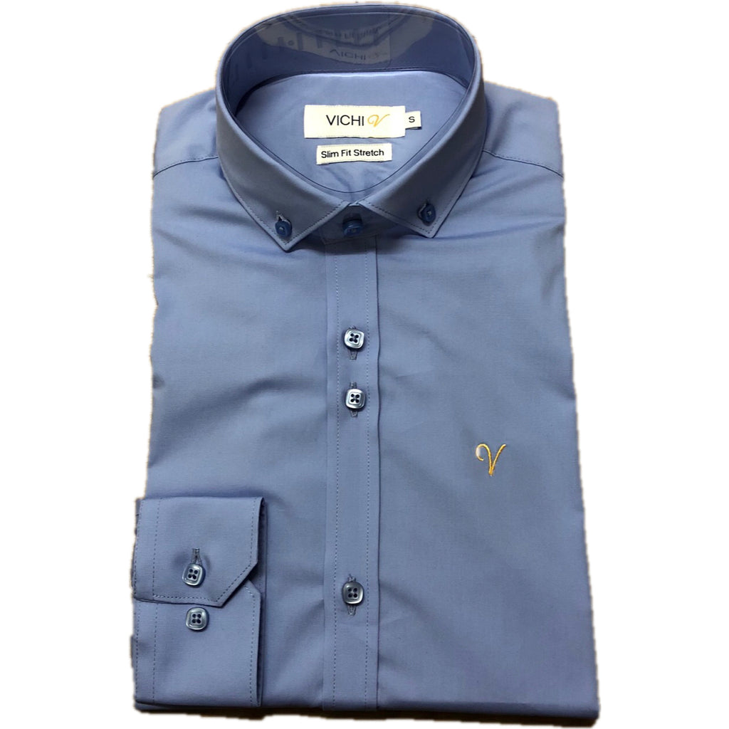 Vichi Slim Fit Stretch Shirt Blue